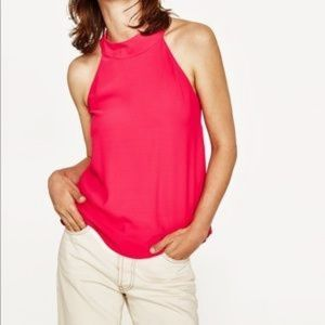 Zara Fuchsia Twist Back Flowing Halter Top Small